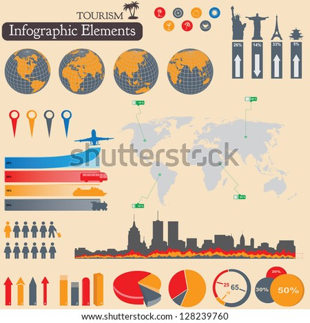 Travel and tourism Infographics set. Vector elements - stock vector