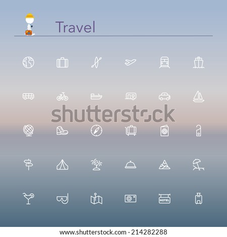 Travel and tourism line Icons set. Vector illustration. - stock vector