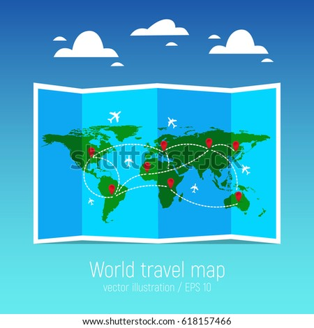 Travel tourism map folded world map stock photo photo vector travel and tourism map folded world map with airplanes and markers vector illustration gumiabroncs Images
