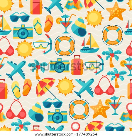 Travel and tourism seamless pattern. - stock vector