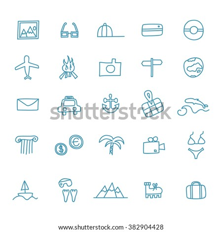 Travel and tourism themed doodle vector set illustration