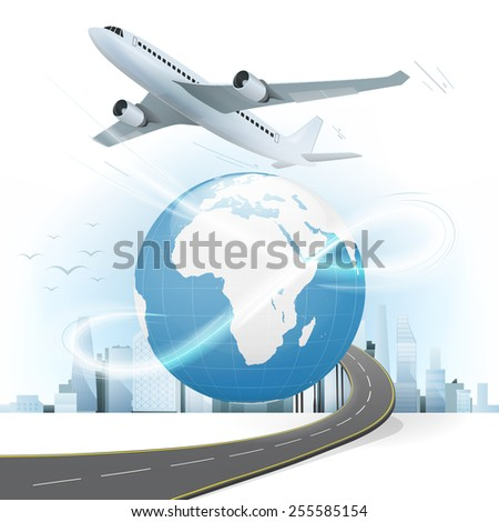 travel and transport concept with Africa and Europe world map vector illustration with cityscape background - stock vector