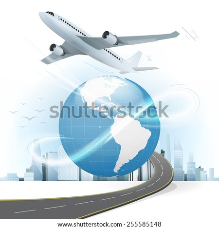 travel and transport concept with America world map vector illustration with cityscape background - stock vector
