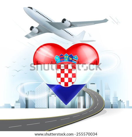 travel and transport concept with Croatia flag on heart vector illustration with cityscape background - stock vector