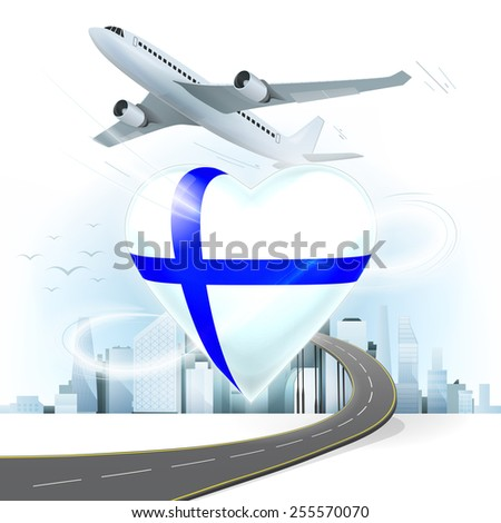 travel and transport concept with Finland flag on heart vector illustration with cityscape background - stock vector