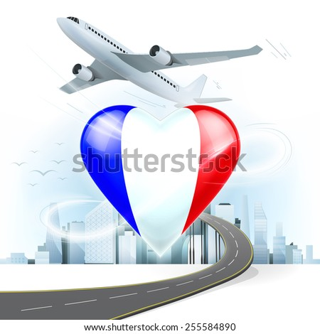 travel and transport concept with France flag on heart vector illustration with cityscape background - stock vector