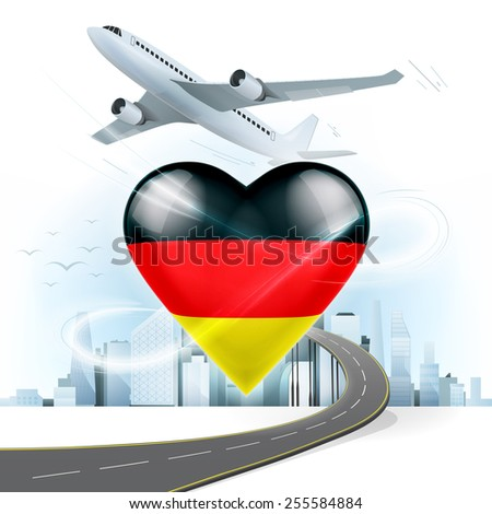 travel and transport concept with Germany flag on heart vector illustration with cityscape background - stock vector