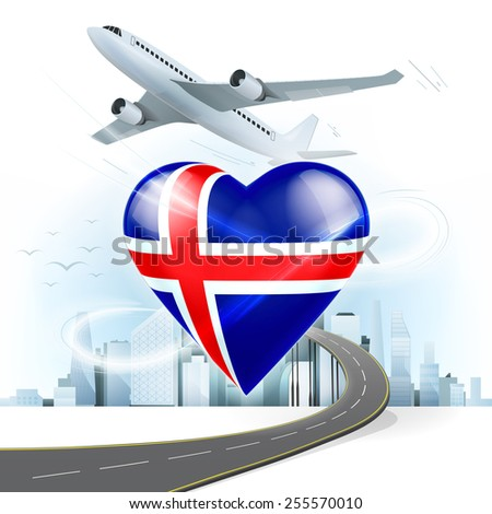 travel and transport concept with Iceland flag on heart vector illustration with cityscape background - stock vector