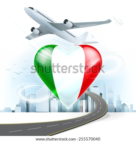 travel and transport concept with Italy flag on heart vector illustration with cityscape background - stock vector
