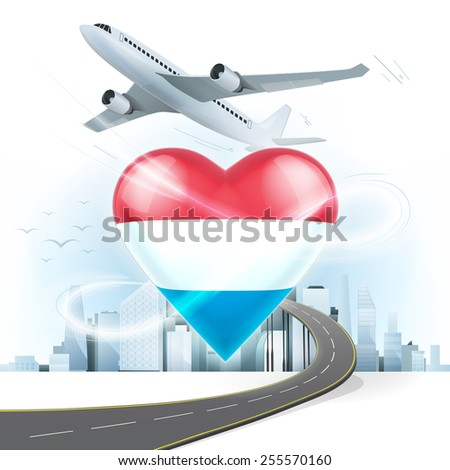travel and transport concept with Luxembourg flag on heart vector illustration with cityscape background - stock vector