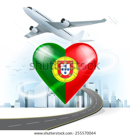 travel and transport concept with Portugal flag on heart vector illustration with cityscape background - stock vector