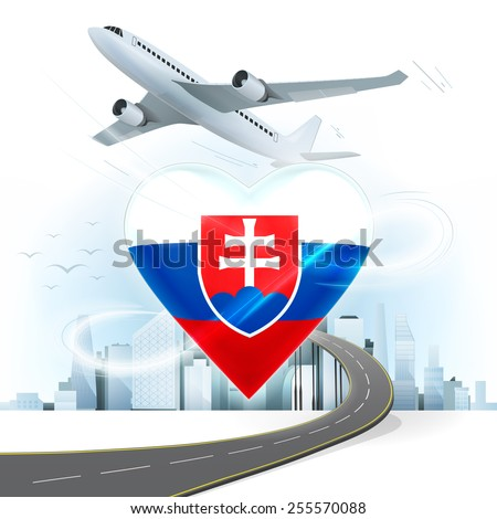travel and transport concept with Slovakia flag on heart vector illustration with cityscape background - stock vector