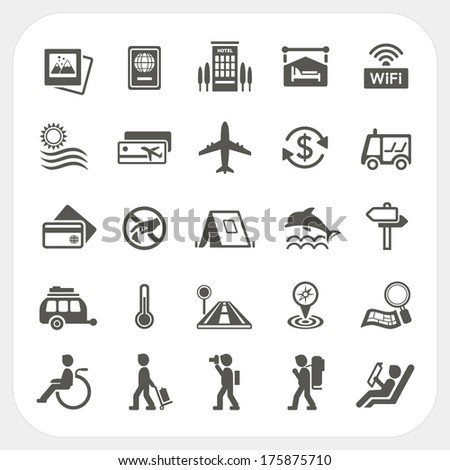 Travel and Transportation icon set - stock vector