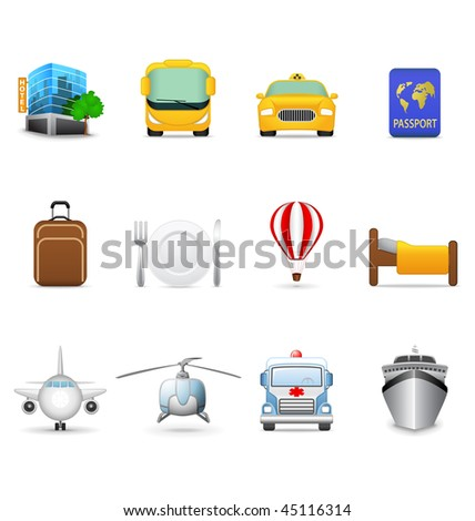 Travel and transportation icons - stock vector