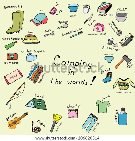 Travel and Vacation Doodle. Camping in the woods. Color woods icon. Ink icon woods camping.