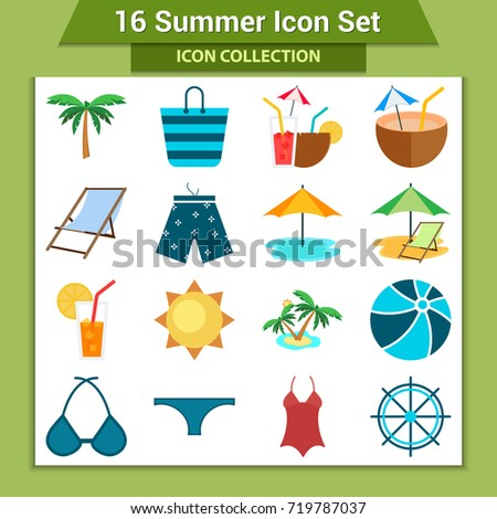 Travel and vacation icon collection - vector silhouette illustration