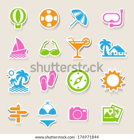 Travel and vacation Icons set .Illustration eps10 - stock vector