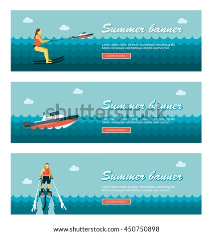 Travel and vacation vector banners. Summertime. Holiday, eps 10 - stock vector