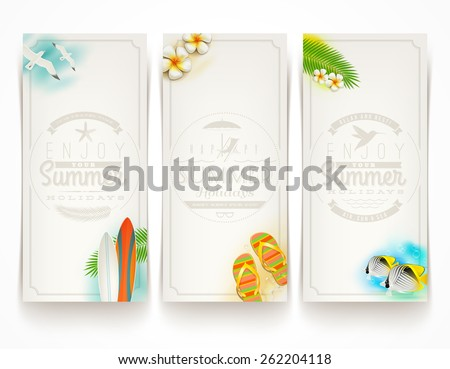 Travel and vacation vector banners with type design emblems - stock vector