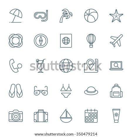 Travel and vacation vector icons set - stock vector