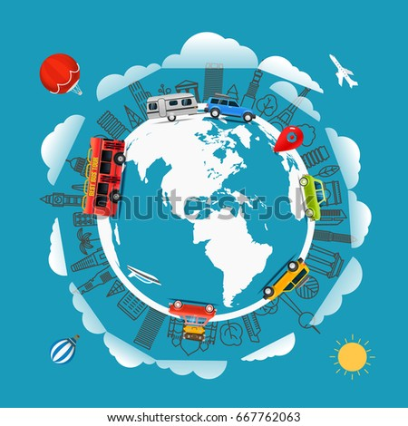 Travel around the Earth. Go travel concept. Vector illustration