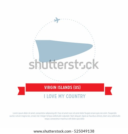 Travel Around The Virgin Islands Us Country Map Ribbon Banner With Map And Airplane