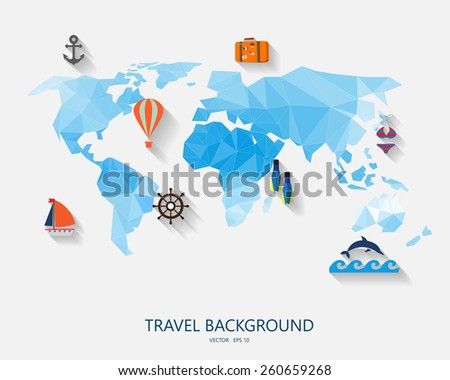 travel around the world background, abstract map,  Tourism concept image. Holidays and vacation.Sea, ocean, land, , beach, air travelling. - stock vector