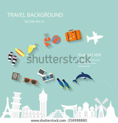 travel around the world background with summer and vacation elements, isolate sign of world traveling place, your text can be adjust easily - stock vector
