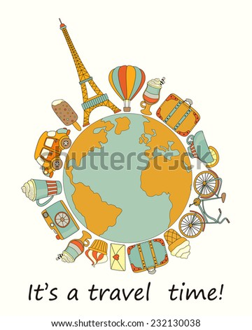 Travel around the world  background with the Eiffel Tower, car, suitcase, bicycle and sweets - stock vector