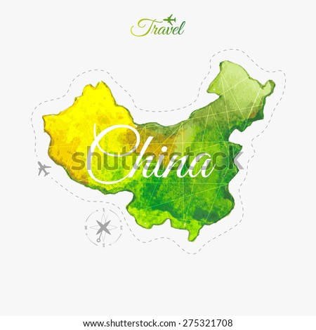Travel around the  world. China. Watercolor map - stock vector