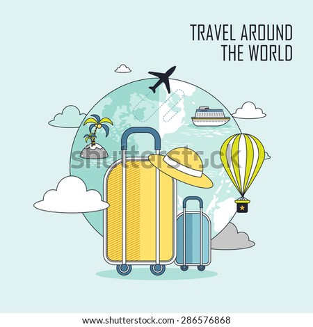 travel around the world concept: luggage and the earth in line style - stock vector