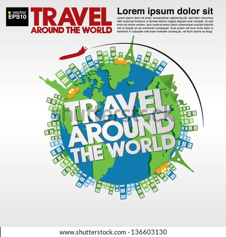 Travel around the world conceptual illustration vector.EPS10 - stock vector