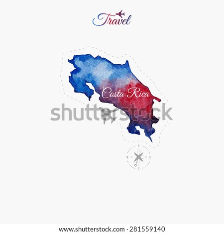 Travel around the  world. Costa Rica. Watercolor map - stock vector