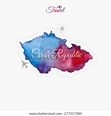 Travel around the  world. Czech Republic. Watercolor map - stock vector