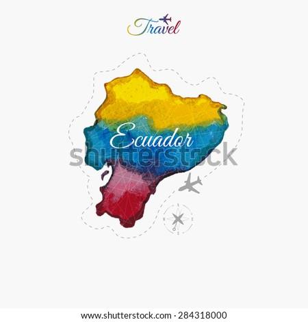 Travel around the world. Ecuador. Watercolor map - stock vector