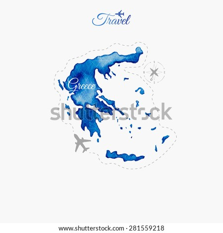 Travel around the  world. Greece. Watercolor map - stock vector