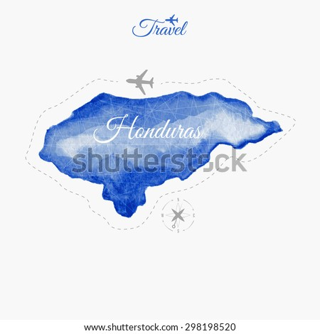 Travel around the  world. Honduras. Watercolor map - stock vector
