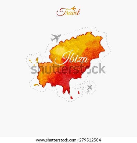Travel around the  world. Ibiza. Watercolor map - stock vector