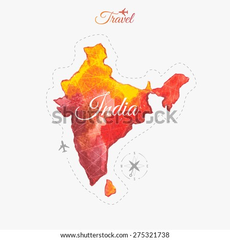 Travel around the  world. India. Watercolor map - stock vector