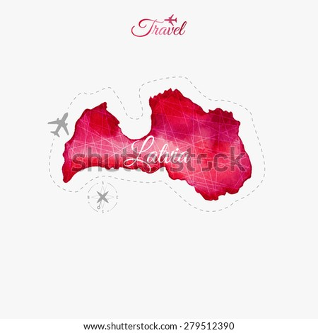 Travel around the  world. Latvia. Watercolor map - stock vector