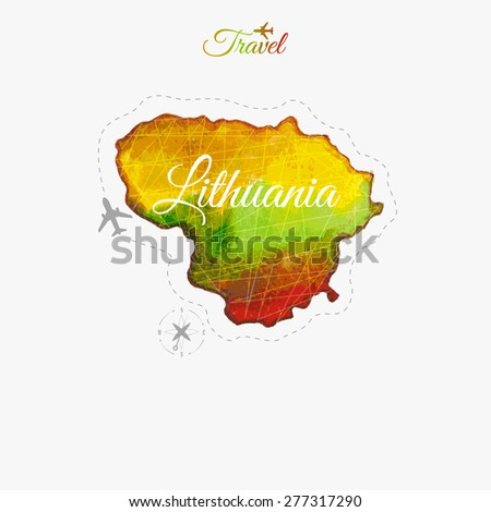 Travel around the  world. Lithuania. Watercolor map - stock vector