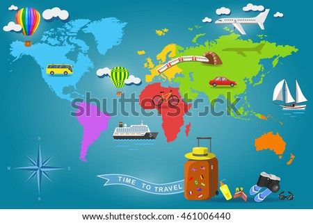 Australia travel guide map flag ocean vectores en stock 395175235 travel around the world set of transport icons on earth world map tourism and gumiabroncs Gallery
