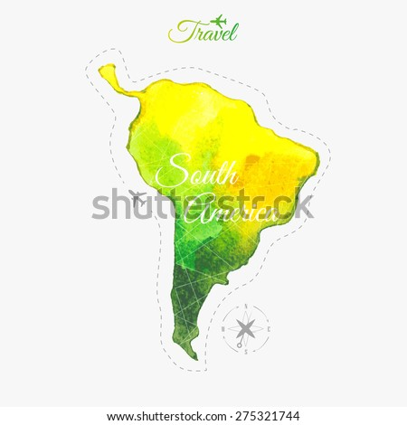 Travel around the  world. South America. Watercolor map - stock vector