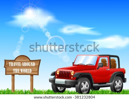 travel around with red jeep - stock vector