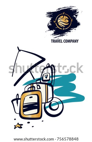Travel around world. Baggage, luggage on beach. Concept template logo,  banner,