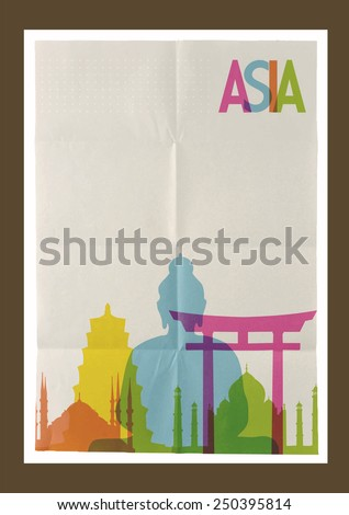 Travel Asia famous landmarks skyline on vintage paper sheet design background. Vector organized in layers for easy create your own poster, brochure or marketing campaign. - stock vector