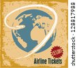 Travel background. Airline tickets. Retro style travel advertising. - stock photo