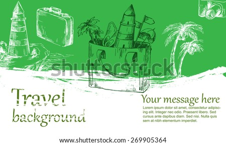 Travel background color. Sketch converted to vectors. - stock vector