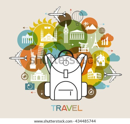 Travel background. Colorful template with icons of luggage, attractions and tourist. The file is saved in the EPS 10 version. - stock vector