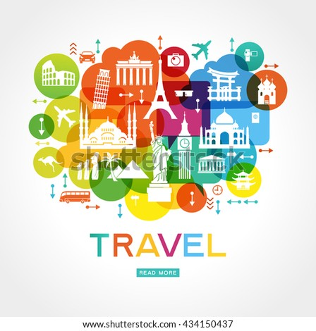 Travel background. Colorful template with icons tourism and landmarks.  File is saved in 10 EPS version.